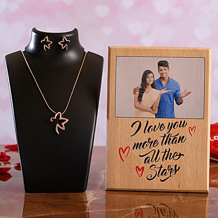 I Love You Personalised Plaque Necklace Set:Personalised Photo Frames for Wedding Gifts
