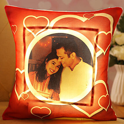 Personalised Hearts Love LED Cushion:Hug Day Gifts