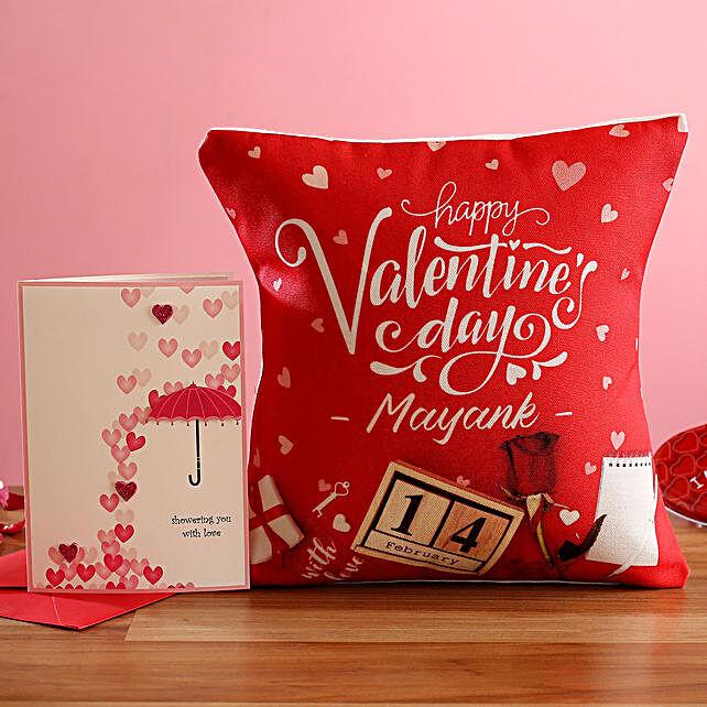 V Day Personalised Cushion Greeting Card
