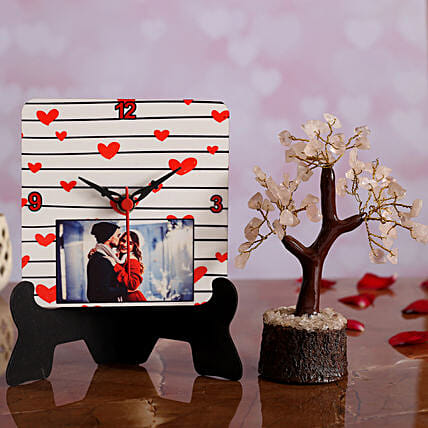 V Day Personalised Table Clock Wish Tree