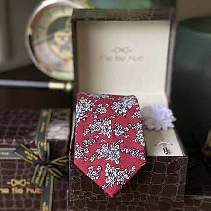 Online RED COTTON FLORAL NECKTIE WITH PINK LAPEL PIN