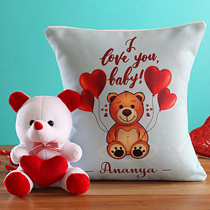 I Love You Baby Personalised Cushion and Teddy Hand Delivery:Teddy Bears