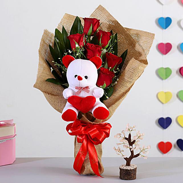 Beautiful Rose Bouquet With Pink Rose Quartz Wish Tree