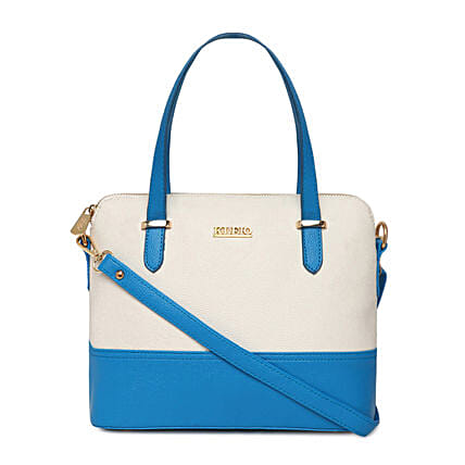 Online KLEIO PU Leather Twin Colour Hand Bag Purse For  Girls Women Ladies (Turquoise::White) (HO9003KL-TUWH)