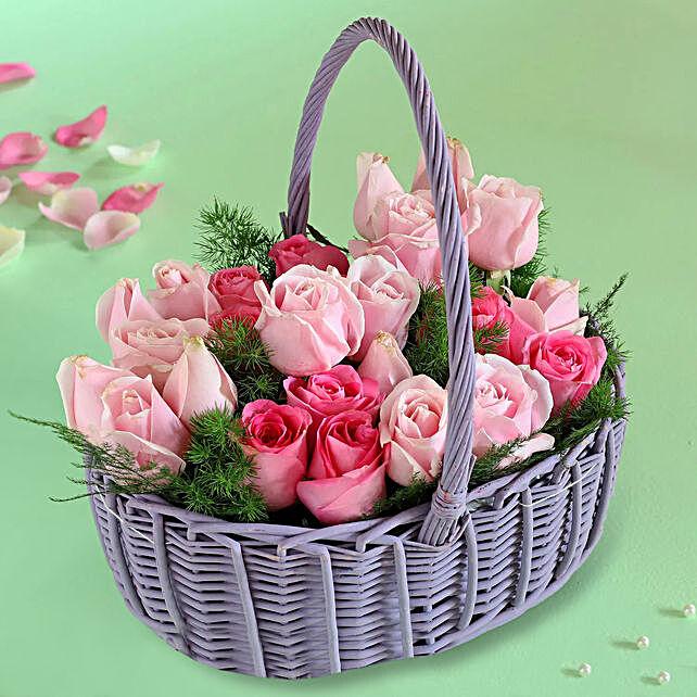Ema And Aqua Roses In Handle Basket