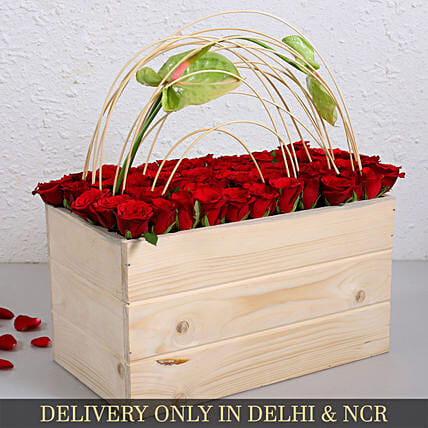 Green Anthurium And Red Roses In Wooden Crate