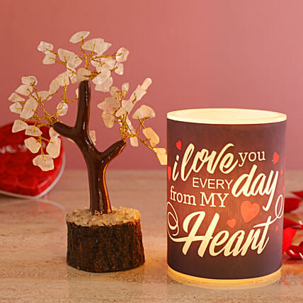 Love You Everyday Hollow Candle Rose Quartz Wish Tree