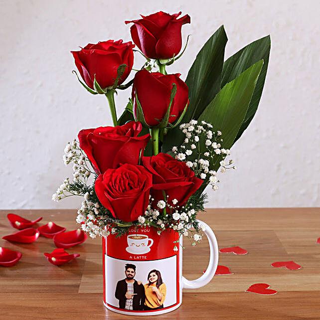 Red Roses In Personalised Love You Latte Mug:Flowers N Personalised Gifts