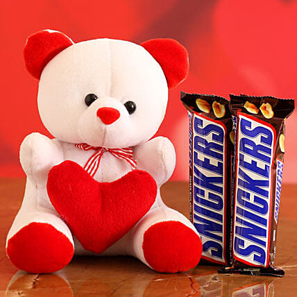 Online Chocolate With Red & White Teddy