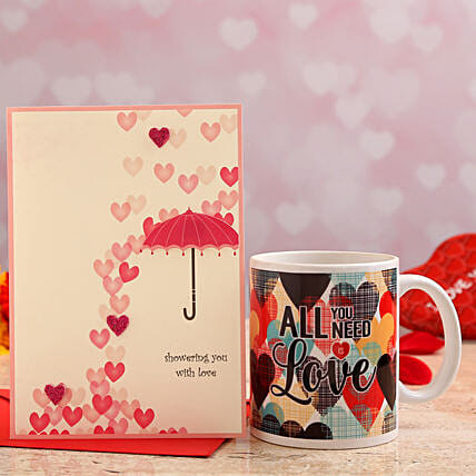 valentines day personalised mug with greeting card online:Send Valentines Day Greeting Cards