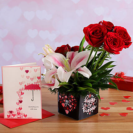 Mixed Flowers In Sticker Vase and Love Umbrella Card