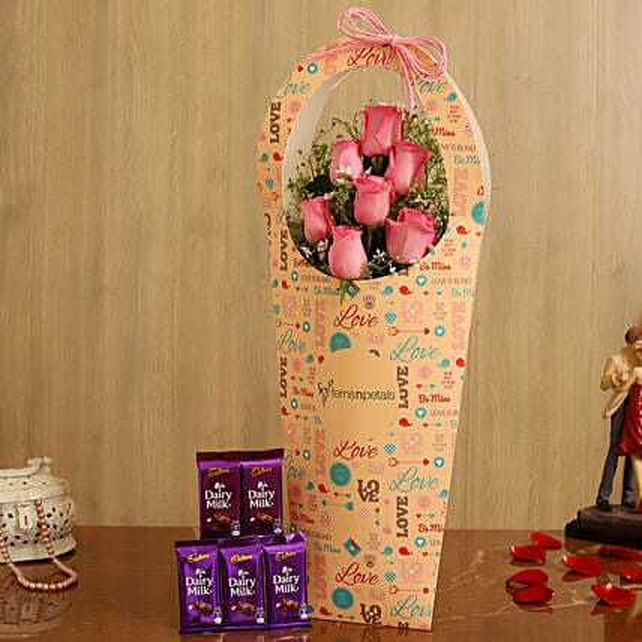 Pink Roses In FNP Love Sleeve and Cadbury Dairy Milk