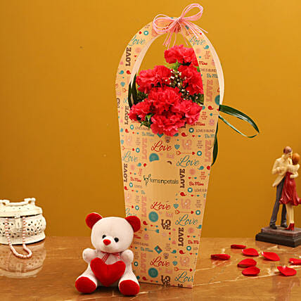 Red Carnations In FNP Love Sleeve and Cute Teddy