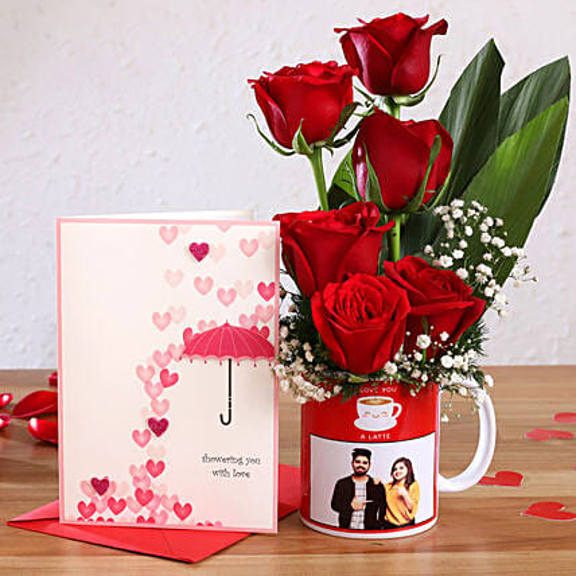 Red Roses In Personalised Mug and Love Umbrella Card