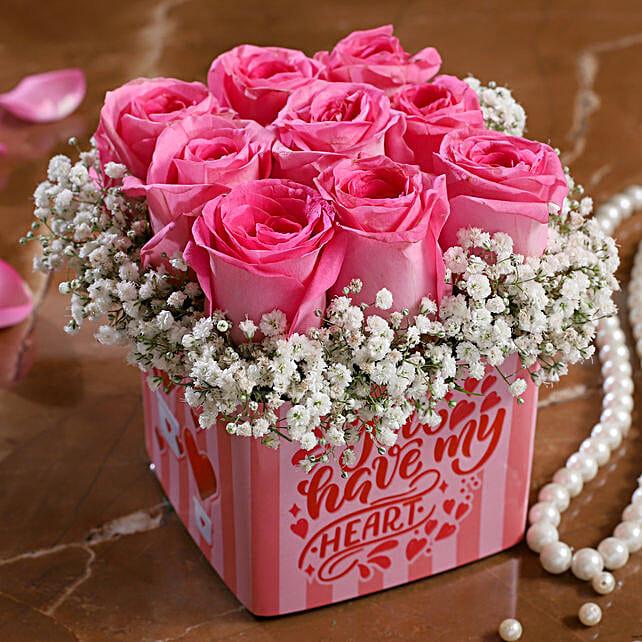 pink rose in vase arrangement for vday:Send Pink Rose