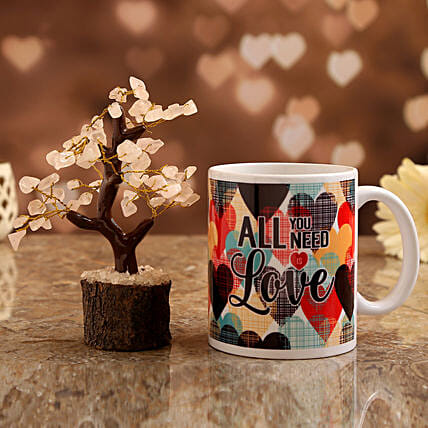 love white mug with wish tree for valentines day