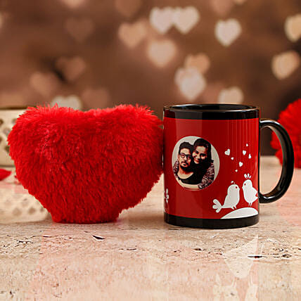 personalised photo mug with red heart for vday