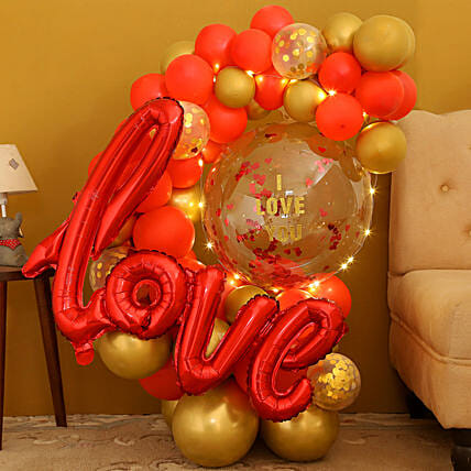 Glowing Love You Bouquet:Balloon Bouquets