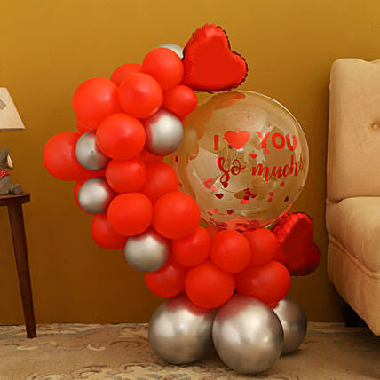 Love You Red Theme Balloon Bouquet
