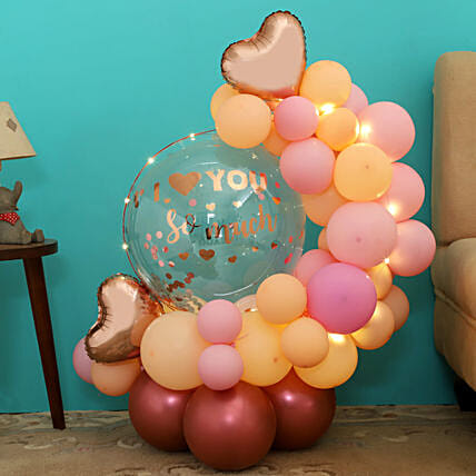Rose Gold Love Balloon Bouquet:Balloon Bouquets