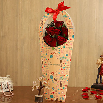 Red Roses In FNP Love Sleeve Wish Tree:Kiss Day Gifts