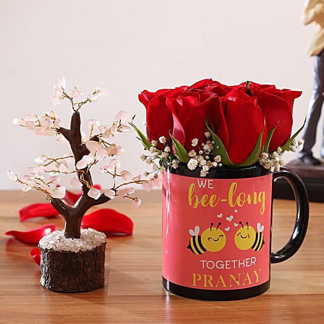 Red Roses In Personalised Name Bee Mug Wish Tree