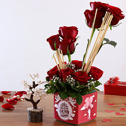 Red Roses In Sticker Vase Wish Tree