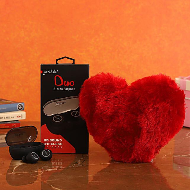 combo of Pebble TWS Stereo Earpods & Red Heart
