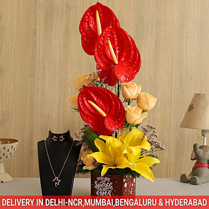 Online Lovely Mixed Flowers:Send Valentines Day Jewellery