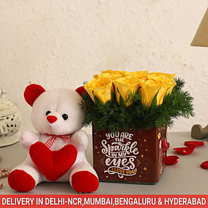 Online Yellow Roses  And Cute Teddy