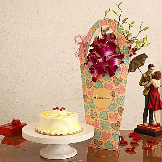 Butterscotch Cake & Purple Orchids in FNP Heart Sleeve