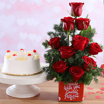 Pineapple Cake & Forever With You Red Roses Combo