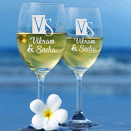 Couple Love Personalised Wine Glass Set Online