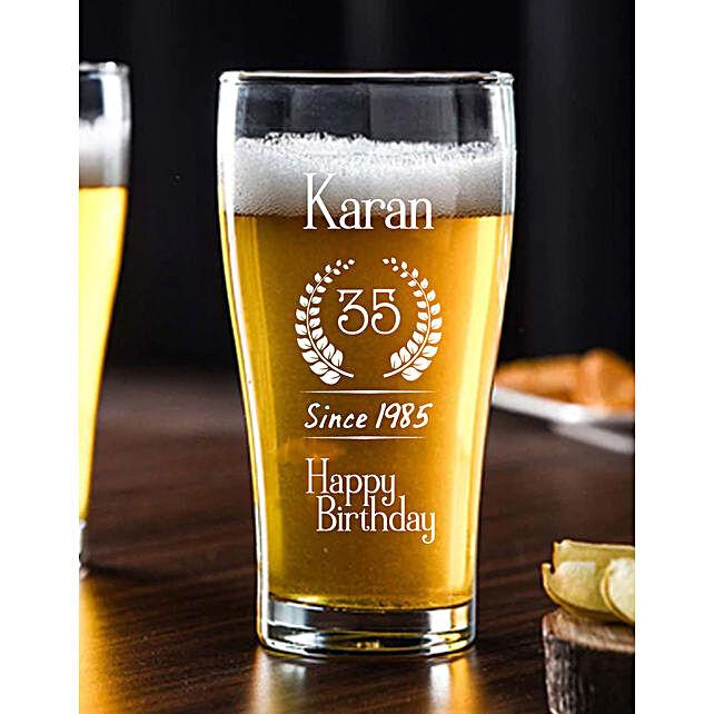 Personalised Birthday Beer Conical Mug Online:Personalised Beer Glasses
