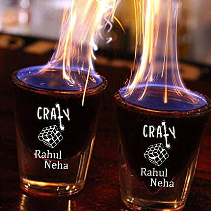 Personalised Crazy Shot Glass Set of 2 Online:Bar Accessories