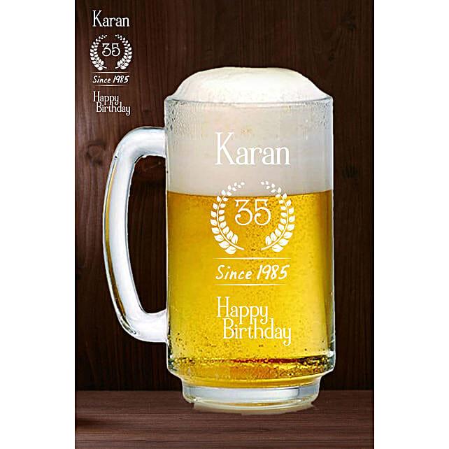 Personalised Happy Birthday Beer Mug Online:Personalised Beer Glasses