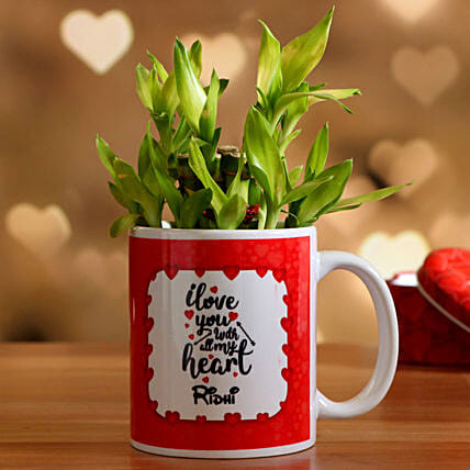 Two Layer Bamboo In Personalised Valentine Mug Hand Delivery:Valentines Day Lucky Bamboo