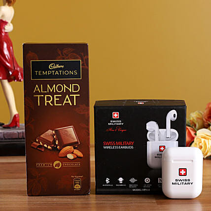 Swiss Military Wireless Earbud And Almond Treat