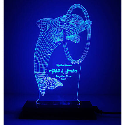 Cute Dolphin Personalised LED Lamp