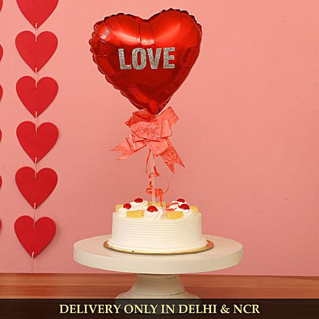 Heart Shaped Love Balloon And Pineapple Cake
