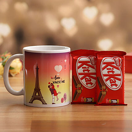 Cute Love Vaccine Mug & Kitkat- Hand Delivery