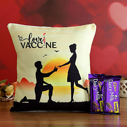Valentine's Special Love Vaccine Cushion & Cadbury Crackle- Hand Delivery