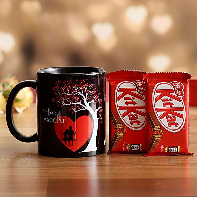 V'Day Special Love Vaccine Mug & Kitkat- Hand Delivery