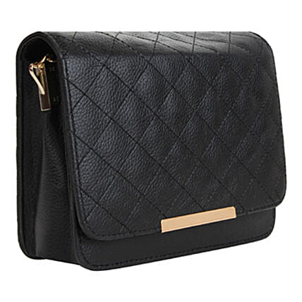 Vivinkaa Leatherette Quilt Embroidered Sling Bag Black:Handbags and Wallets