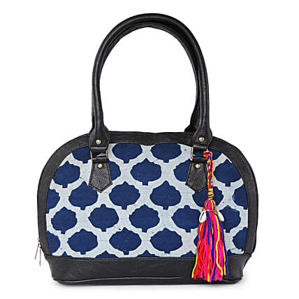 Casual Faux Leather Teal Canvas Printed Hand Bag online