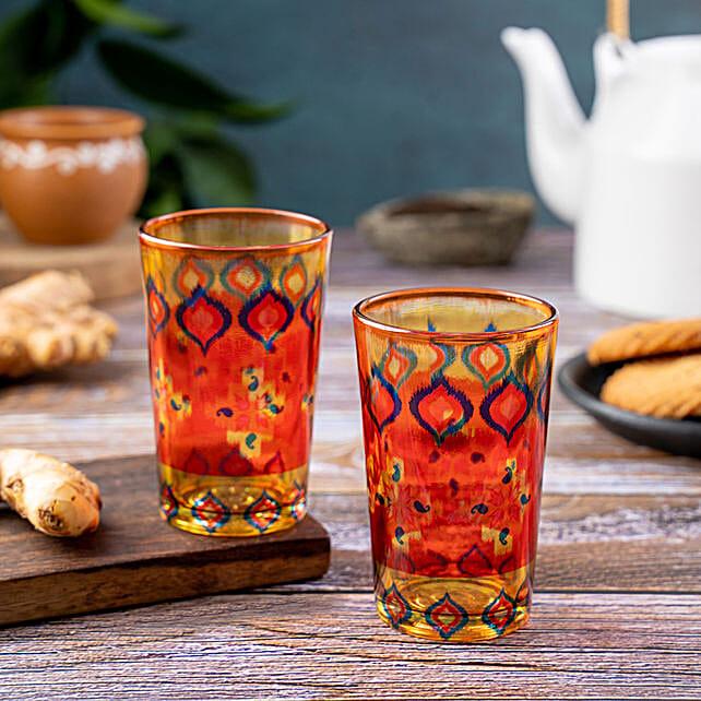 Kolorobia Dazzling Ikat Chai Glass Set Of 2