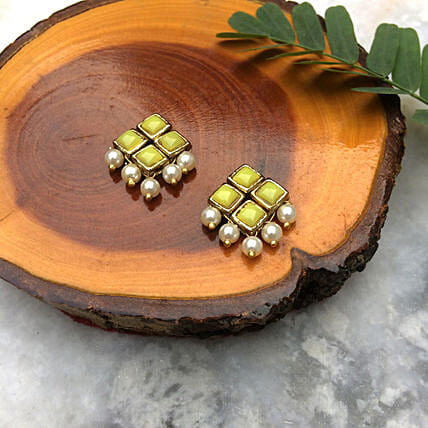 Yellow Resin Stone And Pearl Stud Earrings
