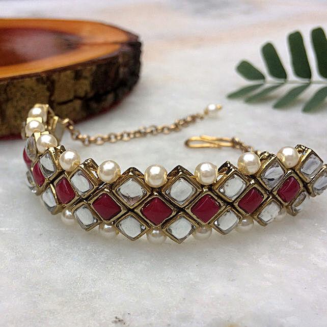 Kundan Marsala Stone And Pearl Bracelet