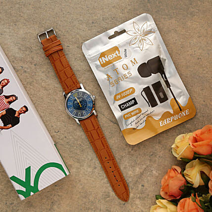 I Next Atom Series Earphone And Brown Watch:Electronic Gifts