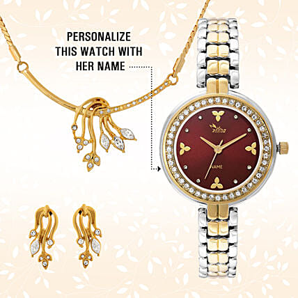Personalised Watch & Golden Pendant Set:Buy Watches